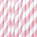 Słomki papierowe jasnoróżowe w paski 10szt