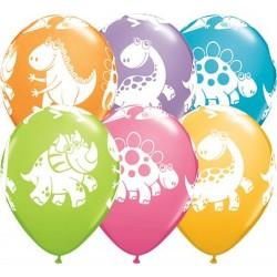 Balony pastelowe Dinozaury mix kolorów 11cali 27cm 6szt