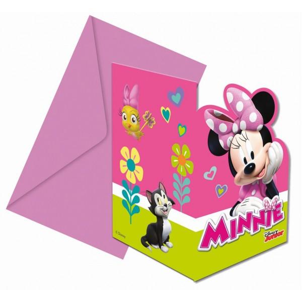 Zaproszenia z kopertą Myszka Minnie 6szt
