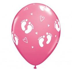 Balony pastelowe Stópki dziecka na chrzest 12cali 30cm 25szt
