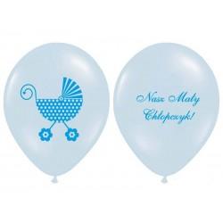 Balon na Chrzest dwustronny Błękitny Wózeczek 30cm 6szt