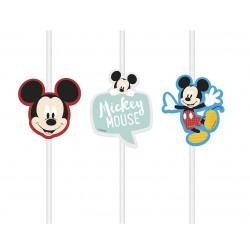 Słomki papierowe z medalionem Myszka Mickey 4szt