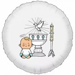 Balon foliowy Chrzest Święty chłopiec 18cali 46cm