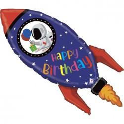 Balon foliowy Rakieta Happy Birthday 40cali 102cm