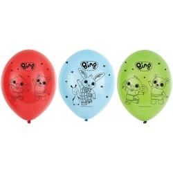 Balony lateksowe Królik Bing mix kolorów 11cali 27cm 6szt