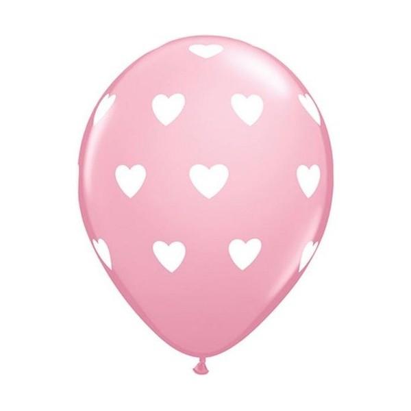 Balony pastelowe jasnoróżowe Serca białe 12cali 30cm 6szt