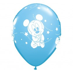 Balony pastelowe Mała Myszka Mickey niebieskie 12cali 30cm 6szt
