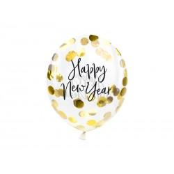 Balony transparentne Happy New Year z konfetti 11cali 27cm 3szt