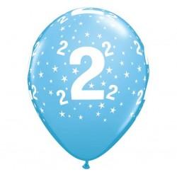 Balony pastelowe  na 2 urodziny niebieskie 12cali 30cm 6szt
