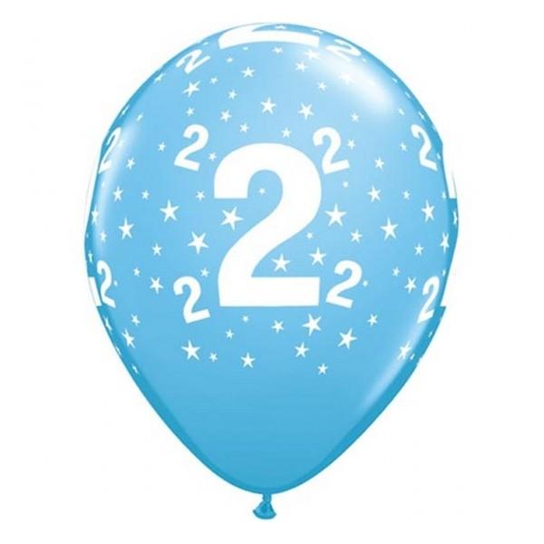 Balony na 2 urodziny niebieskie 30cm 6szt
