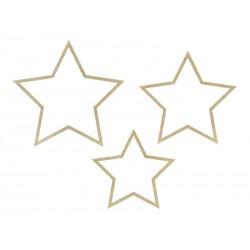 Zawieszki drewniane Gwiazdy brokatowe 3szt