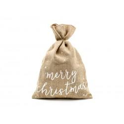 Worek jutowy Merry Christmas 30x42cm
