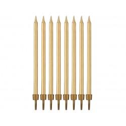 Świeczki urodzinowe złote 10cm 8szt