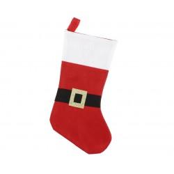 Skarpeta na świąteczny prezent czerwona z paskiem
