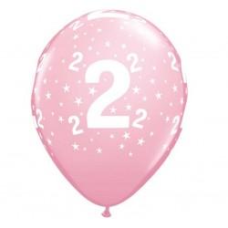 Balony na 2 urodziny jasnoróżowe 30cm 6szt