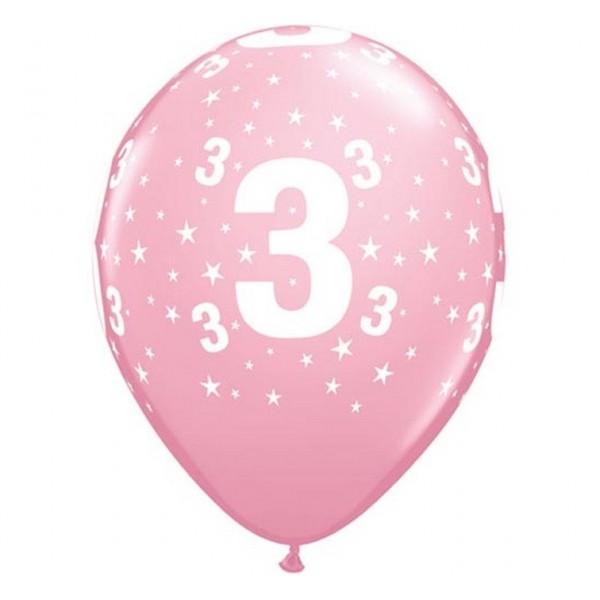 Balony na 3 urodziny jasnoróżowe 30cm 6szt