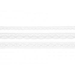 Koronki bawełniane białe 3szt