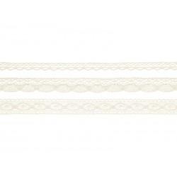 Koronki bawełniane kremowe 3szt