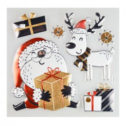 Naklejki świąteczne Mikołaj i Renifer