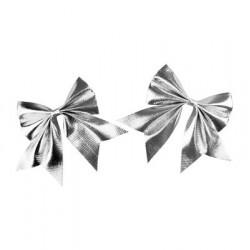 Zestaw kokard metalizowanych srebrnych 2szt