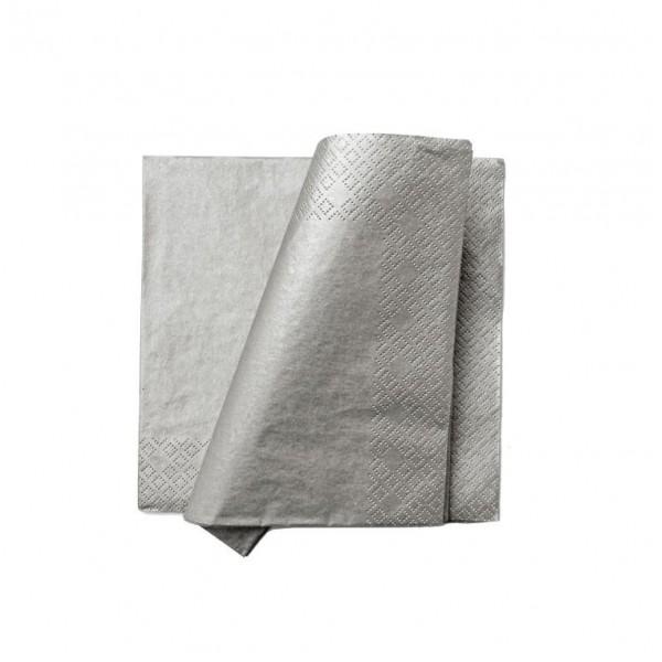 Serwetki srebrne metaliczne  33x33cm 20szt