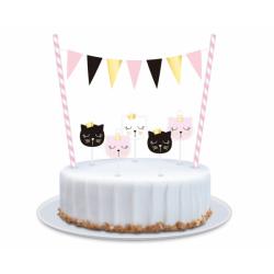 Topper na tort Kotek 8 elementów