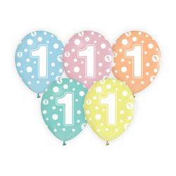 Balony pastelowe z nadrukiem cyfry 1 12cali 30cm 5szt