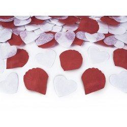 Tuba strzelająca serca białe i płatki róż białe 30cm