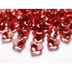 Kryształowe serca czerwone 21mm 30szt