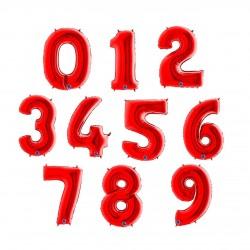 Balony Cyfry  0-9 Czerwone 102cm