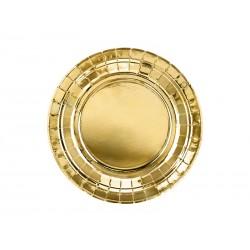 Talerzyki papierowe złote metalizowane 18cm 6szt