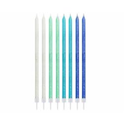 Świeczki brokatowe niebieski mix Wysokie 24szt