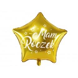 Balon foliowy Gwiazdka Mam Roczek złoty 48cm