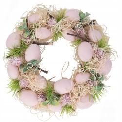 Wianek Sianko z różowymi jajeczkami 30cm