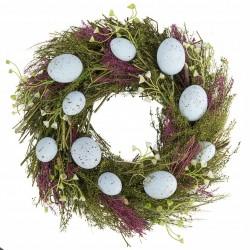 Wianek z niebieskimi jajeczkami 30cm