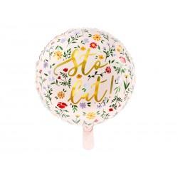 Balon foliowy Sto Lat jasnoróżowy 35cm