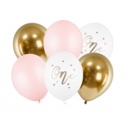 Bukiet z balonów na Roczek dziewczynki 12cali 30cm 6szt