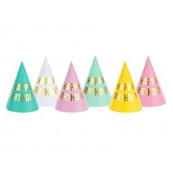 Czapeczki papierowe Happy Birthday mix kolorów 6szt