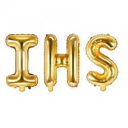 Balon foliowy napis IHS złoty 35cm