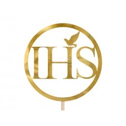 Topper na tort IHS metaliczne złoto 22cm