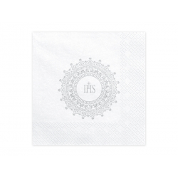 Serwetki komunijne IHS białe 33x33cm 20szt