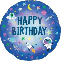 Balon foliowy Happy Birthday Kosmos 18cali 46cm