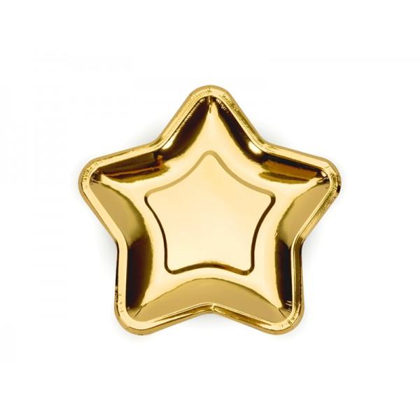 Talerzyki papierowe Gwiazdka złote 18cm 6szt