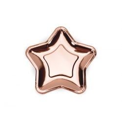 Talerzyki papierowe Gwiazdka rose gold 18cm 6szt