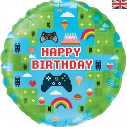 Balon foliowy Game Happy Birthday holograficzny 18cali 46cm