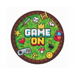 Talerzyki papierowe Game On zielone 18cm 6szt