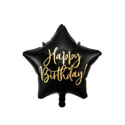 Balon foliowy Gwiazdka Happy Birthday czarny 15,5cali 40cm