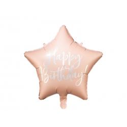 Balon foliowy Gwiazdka Happy Birthday jasny pudrowy róż15.5cm 40cm