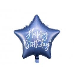 Balon foliowy Gwiazdka Happy Birthday granatowy 15.5cali 40cm