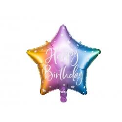 Balon foliowy Gwiazdka Happy Birthday mix kolorów 15.5cali 40cm